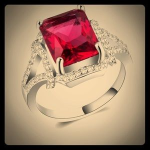 Gorgeous 925 Silver Ring Princess Cut Ruby New